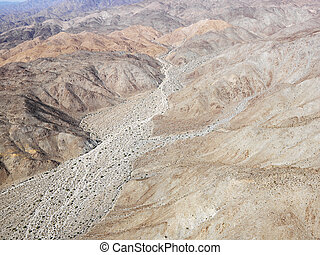 California desert - Aerial view of torrid California desert...