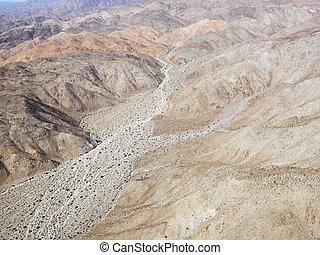 California desert. - Aerial view of torrid California desert...