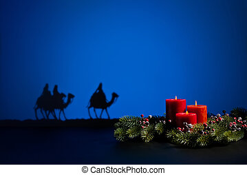 Three wise men and candles - Three wise men on the way to...