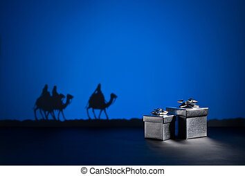 Three wise men and presents - Three wise men on the way to...