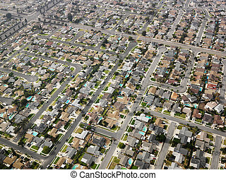 Aerial of urban sprawl. - Aerial view of sprawling Southern...