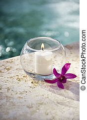 Candle and orchid. - Lit candle in glass bowl with purple...