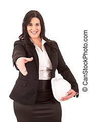 Large business woman offering handshake, isolated over white