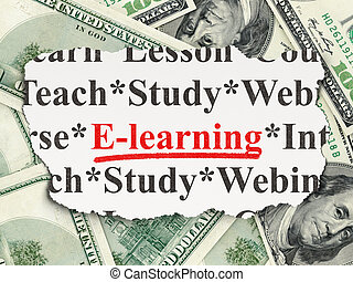 Education concept: E-learning on Money background -...