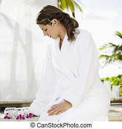 Woman at spa - Attractive Caucasian mid-adult woman at spa...