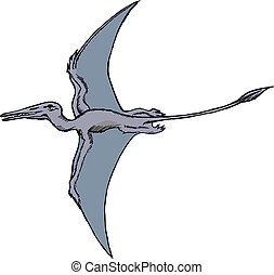 pterodactyl - hand drawn, vector, sketch illustration of...