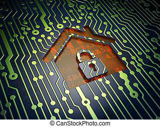 Business concept: Home on circuit board background