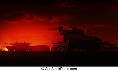 Military Tanks at sunrise