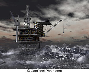 Oil Rig - Digital Illustration of an Oil Rig