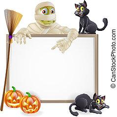 Mummy Halloween Sign