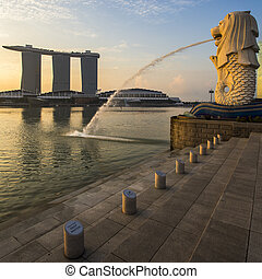 Singapore landmark Merlion with sunrise