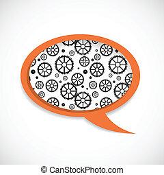 Mechanical Wheels Speech Bubble - Speech bubble with...