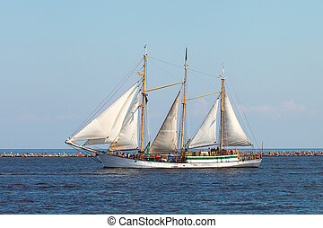 Sailing ship. - Sailing ship in harbor.