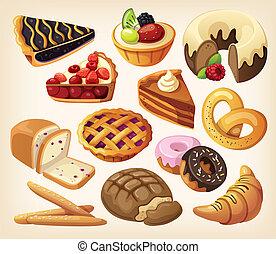 Conjunto, pasteles, harina, productos