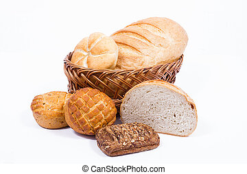 Different bakery products with isolated background