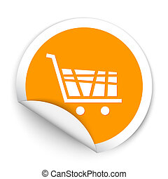 Shopping cart sticker style sign Vector illustration