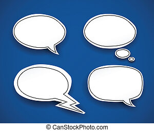 Paper Speech Bubbles - Paper speech bubbles Vector set