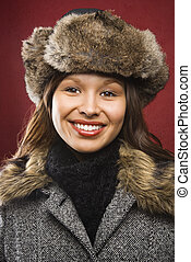 Woman in hat and coat. - Young adult Caucasian woman wearing...