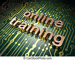Education concept: Online Training on circuit board background