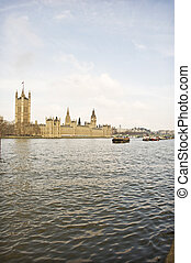 Thames River View Wide - A view on the Thames of Lambeth...