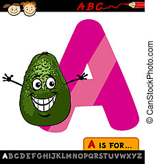 letter a with avocado cartoon illustration - Cartoon...