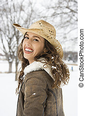 Woman in cowboy hat - Caucasian young adult female outdoors...