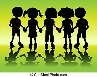 Kid silhouettes holding hands - Row of kids black...