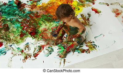Abstract painting - Child deliberately making an abstract...