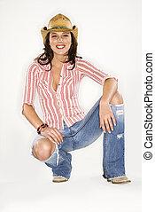 Woman in cowboy hat. - Young Caucasian woman wearing cowboy...