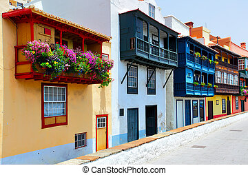 Colorful houses with balconies in Santa Cruz de La Palma,...