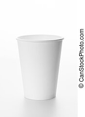 White paper cup on white background