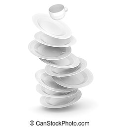 3d dishes and cup on white background