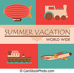 summer vacations - summer vacation over clouds background...