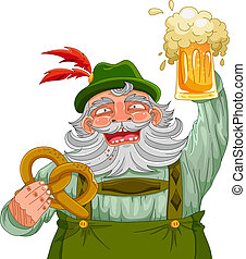 man holding beer and pretzel - man in traditional German...