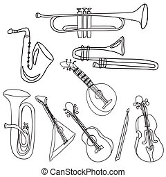 musical instruments over white background vector...