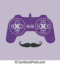 joystick design over purple background vector illustration
