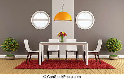 Contemporary dining room with white table - rendering