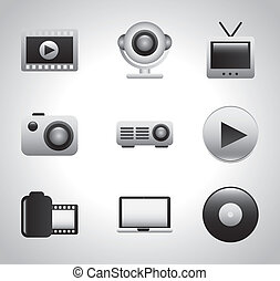 video icons over gray background vector illustration