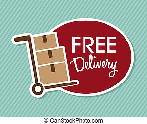 free delivery over lineal background vector illustration