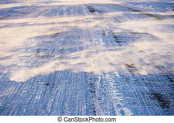 hielo, cubierto, camino