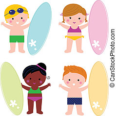 Cute little summer kids with surf set isolated on white