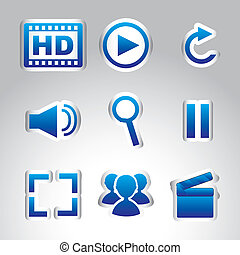 multimedia icons - multimedia icons over gray background...