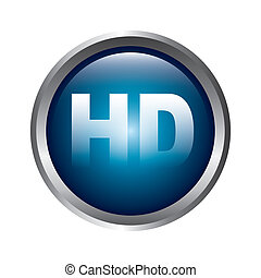 high definition button over gray background vector...