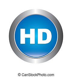 high definition button over white background vector...