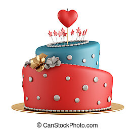Red and blue birthday cake with candle in the shape of heart...
