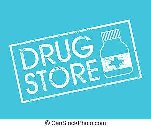 drug store over blue background vector illustration
