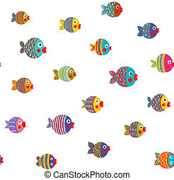 Fish Shoal Bright Cartoon Seamless Pattern - Childish...
