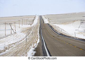 Rural road in snow.