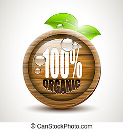 100% organic - glossy wooden icon
