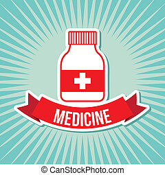 medicine label over blue background vector illustration